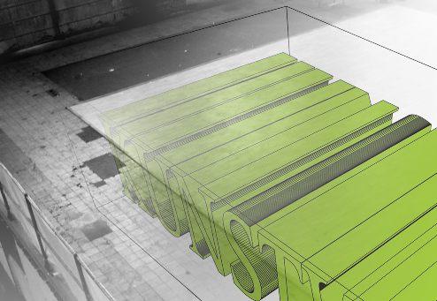 Bild der möglichen Lage des Kunstwerks im Betonblock
